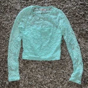 Hollister long sleeve lace top small